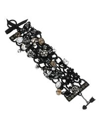 Betsey Johnson | Black-Tone Flower And Critter Charm Toggle Bracelet | Lyst