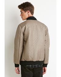 Forever 21 - Brown Chevron-patterned Bomber Jacket - Lyst
