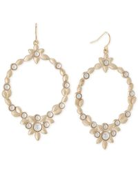 Carolee | Metallic Gold-tone Faux Pearl Gypsy Hoop Earrings | Lyst