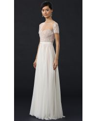 Reem Acra - Natural She's My Dream Lace and Silk Gown  - Lyst