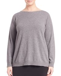Eileen Fisher - Gray Boxy Bateau-neck Cashmere Sweater - Lyst