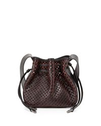 Halston - Black Bianca Medium Perforated Crossbody Bag - Lyst