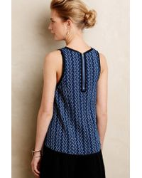 Anthropologie - Blue Textured Swing Tank - Lyst