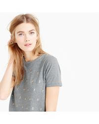 J.Crew | Gray Heathered Embellished Dot T-shirt | Lyst