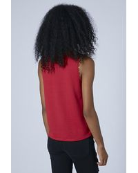 TOPSHOP - Womens Petite Lace Collar Top Berry Red - Lyst
