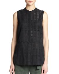 Vince | Black Sleeveless Grid-weave Tunic | Lyst