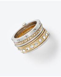 Ann Taylor | Metallic Modern Classic Hinged Ring Set | Lyst