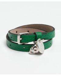 Alexander McQueen | Green Leather Double Wrap Skull Bracelet | Lyst