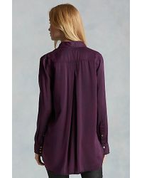 True Religion | Purple Georgia Silk Womens Shirt | Lyst
