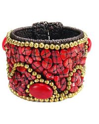 Aeravida | Metallic Cotton Rope Mosaic Stone Brass Wire Adjustable Cuff | Lyst