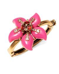 Oscar de la Renta | Pink Resin Flower Cuff Bracelet | Lyst