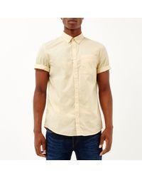 River Island - Light Yellow Short Sleeve Twill Shirt for Men - Lyst