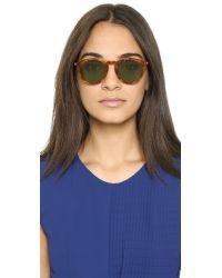 Saint Laurent - Round Sunglasses - Havana/green - Lyst