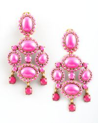 Oscar de la Renta - Pink Cabochon Drop Clip Earrings - Lyst