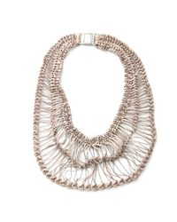 Brunello Cucinelli | Metallic Cotton Macrame Bib Necklace for Men | Lyst