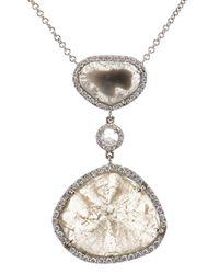 Susan Foster - Metallic Diamond Slice & White-Gold Necklace - Lyst