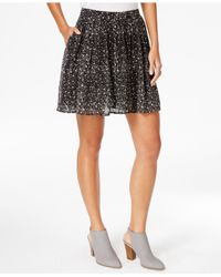 Lucky Brand | Black Lucky Brand Printed Mini Skirt | Lyst