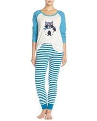 Make + Model Blue 'cabin Friends' Pajama Set