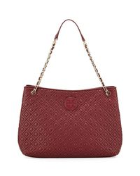 Tory Burch - Red Marion Quilted Slouch Shoulder Bag - Lyst