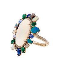 NSR Nina Runsdorf - Blue Diamond, Opal, Emerald & Sapphire Ring - Lyst