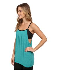 Beyond Yoga | Blue Pleated Twofer Tank Top | Lyst