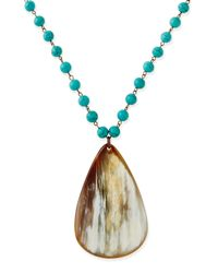 Nest - Blue Turquoise Beaded Necklace With Horn Teardrop - Lyst