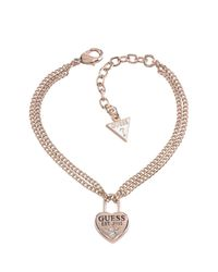 Guess | White Status Denim Rose Gold Plated Bracelet | Lyst