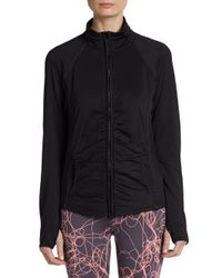 Calvin Klein - Black Shirred Zipfront Performance Jacket - Lyst