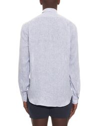 Gieves & Hawkes - Blue Striped Linen Shirt for Men - Lyst