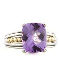 Lagos | Metallic Silver Prism Ring Amethyst | Lyst
