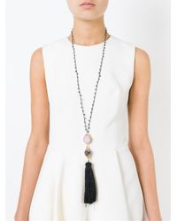 Katerina Psoma | Black Tassel Pendant Beaded Necklace | Lyst