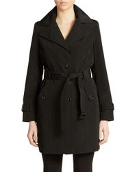 Calvin Klein | Black Single-breasted Trenchcoat | Lyst