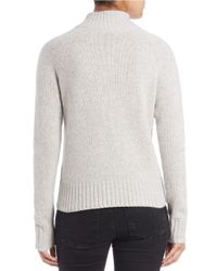 Lord & Taylor | Gray Zip-front Cashmere Sweater | Lyst