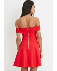 Forever 21 | Red Off-the-shoulder Fit & Flare Dress | Lyst