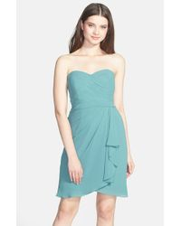 Jenny Yoo | Blue 'brooklyn' Side Drape Strapless Chiffon Dress | Lyst