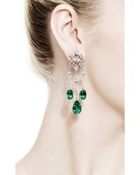 Kwiat - Green Platinum Diamond And Emerald Earrings - Lyst