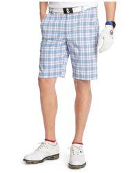 Izod | Blue Coastal Plaid Straight-fit Performance Golf Shorts for Men | Lyst