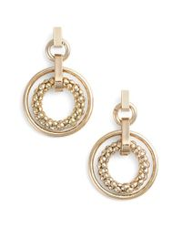 Anne Klein | Metallic Drop Hoop Earrings | Lyst