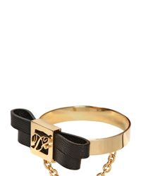 DSquared² - Metallic Logo Bow Leather Bracelet - Lyst