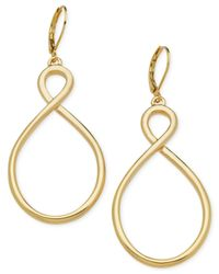 T Tahari | Metallic Gold-tone Open Twist Earrings | Lyst