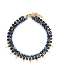 Joomi Lim - Blue Arrowhead Spike Crystal Faux Pearl Necklace - Lyst