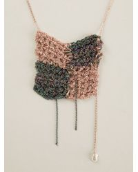 Arielle De Pinto | Metallic Knit Checkered Chain Necklace | Lyst