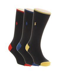 Ralph Lauren - Black Polo 3 Pack Socks for Men - Lyst
