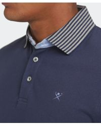 Hackett | Blue Slim Fit Striped Collar Polo Shirt for Men | Lyst