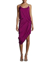 Halston - Purple Sleeveless Draped Cocktail Dress - Lyst