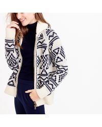 J.Crew | Blue Abstract Fair Isle Zip Cardigan Sweater | Lyst