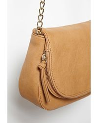 Forever 21 - Brown Zip Flap-top Faux Leather Crossbody - Lyst