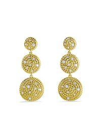 David Yurman | Metallic Cable Coil Triple-drop Earrings With Diamonds In Gold | Lyst