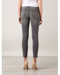 Mother - Gray Ripped Skinny Jeans - Lyst