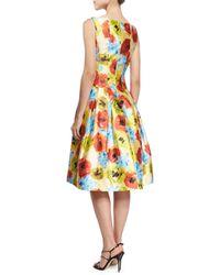 Oscar de la Renta - Multicolor Floral-print Seamed Fit-and-flare Dress - Lyst